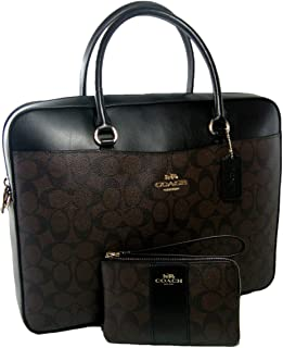 New Coach C Signature Laptop Bag & Wristlet Matching 2 Piece Set Brown Black