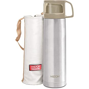 MILTON ThermoSteel Glassy Hot & Cold Bottle with Drinking Cup Lid (350ml, Grey)