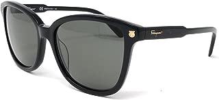 Salvatore Ferragamo SF815S 001 Womens Shiny Black 56 mm Sunglasses - Shiny Black