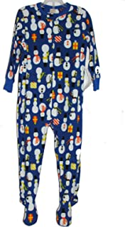 Boy's 4T Royal Blue Snowman Fleece Footed Blanket Pajama Sleeper