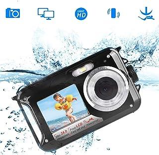 防水カメラ デジカメ 防水 デジタルカメラ 水中カメラ フルHD 1080P 24.0MP スポーツカメラ アクションカメラ デュアルスクリーン オートフォーカス 水に浮く ケース不要(黒)
