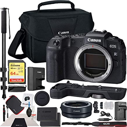 "$1477 Get Canon EOS RP Full-Frame Mirrorless Digital Camera Body Only with EF-EOS R Lens Adapter & Extension Grip EG-E1 and Shoulder Bag Case Extra Battery Deco Gear Cleaning Kit 72"" Monopod Essential Bundle"