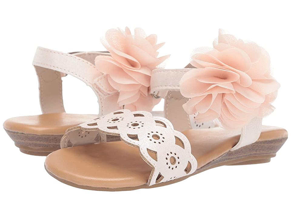Baby Deer Sandal with Chiffon Flower Walk (Infant/Toddler) (Blush) Girls Shoes