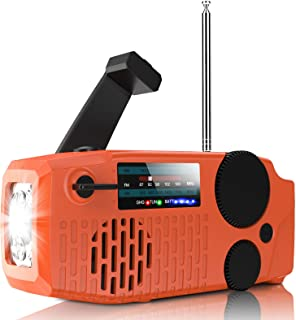 Geartist Submarine 1 ソーラーラジオ 手回しラジオ USB充電ラジオ AM/FM携帯ラジオ 天気報告ラジオ 2000mAh電池容量 イヤホンジャック 充電インジケータ 高輝度LED懐中電灯付き 緊急 災害時用パワー・バンク1年保証
