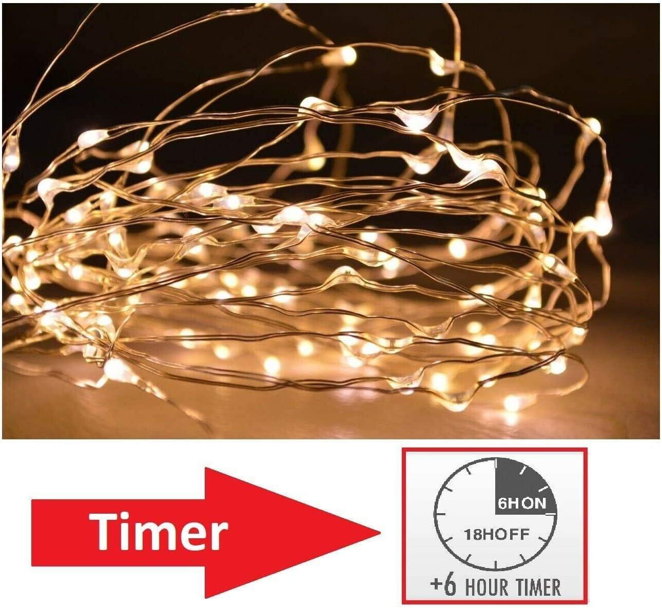 Vanorell 10 x 10 LEDs Draht Lichterkette KALTWEISS zuschneidbare Drahtlichterkette SILBERDRAHT incl Batterie Micro LED Lichterkette Lichterschlauch Batterie Weihnachten Licht Lichterketten Party