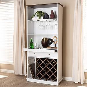 Baxton Studio Mattia Mid-Century Modern White and Walnut Finished Wood Wine Cabinet