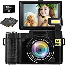 Digital Camera Vlogging Camera 30MP Full HD 2.7K Vlog Camera with Flip Screen 3 Inch Screen Vlog Camera for YouTube with 2...