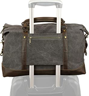 Weekender Duffel Bag Travel Tote - Canvas Genuine Leather Overnight Bag (Grey, Medium)
