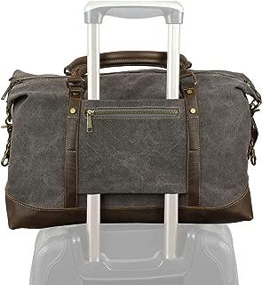 Weekender Duffel Bag Travel Tote - Canvas Genuine Leather Overnight Bag