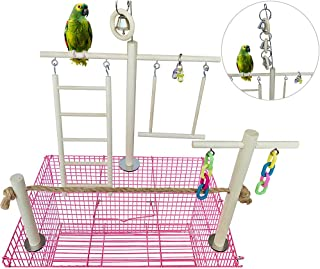 kathson Bird Perches Outside Cage,  Parrot Swing Climbing Ladders Toys,  Natural Wood Bird Cage Play Gyms Playground Stand Rope Perch for Parakeet Conure Lovebirds Budgies and Other Finches