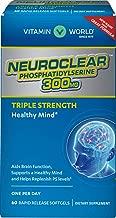 Vitamin World NeuroClear Phosphatidylserine 300 mg. 60 softgels, Triple Strength, Support Healthy Brain Function, Rapid-release, Gluten Free