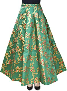 DB ENBLOC Women's Now Umbrella Cut Skirt for Party/Festival Function Green