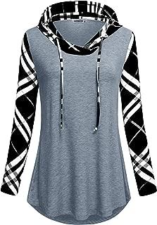 Women's Sweatshirts Long Sleeve Plaid Drawstring Color Block Pullover Hoodies