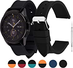 6 Colors Silicone Watch Band 20mm Compatible Samsung Galaxy 42mm/Gear S2 Classic Watch Band,Compatible Huawei Watch 2 /Moto 360 2nd Gen, Black 20mm