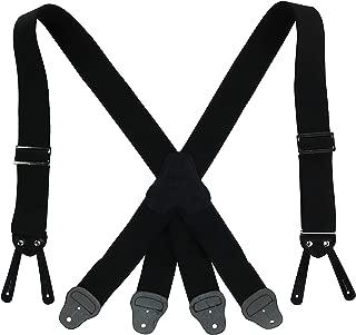 CTM Men's Elastic Button-End 2 Inch Fireman Suspenders