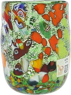 GlassOfVenice Murano Drinking Glass - Millefiori Silver Green