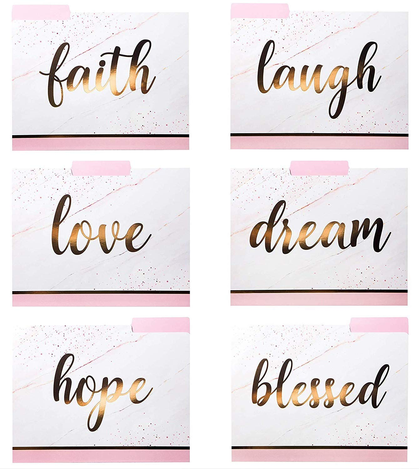 12 Fancy With Inspirational Words Emboss In Rose Gold Decorative File Folders
