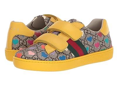 Gucci Kids New Ace V.L. Sneakers (Little Kid) (Beige/Ebony/VRV) Girl