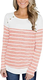 Womens Round Neck Button Decor Striped Tops Color Block Blouses Casual T Shirts