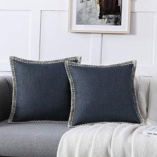 مجموعة من 2 أغطية وسائد رمي تزيينية من نوردايكو هوم - أغطية وسائد من الكتان للأريكة والسرير وديكور المنزل، 18 × 18 (كحلي، ...