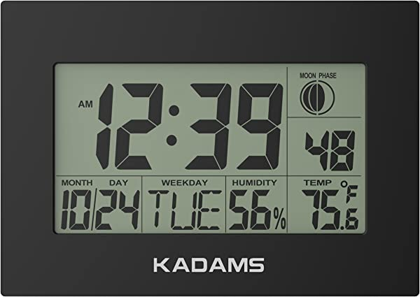 KADAMS Digital Wall Clock With Alarm Seconds Counter Snooze Calendar Date Day Indoor Temperature Humidity Moon Phase Large Display Shelf And Desk Clock Stand Non Atomic No Backlight Black