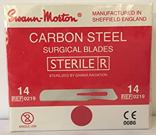 Swann-Morton #14 Sterile Surgical Blades, Carbon Steel [individually packed, box of 100]