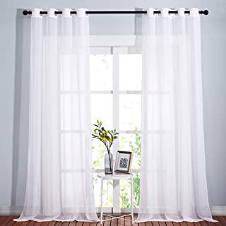 NICETOWN Sheer Curtains Extra Long - Ring Top Voile Textured Large Window Treatments Vertical Dressings for Wedding/Villa/...