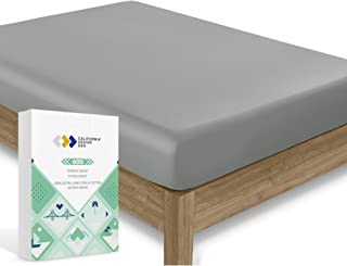 California Design Den Twin Cotton-Sheet Dark Grey Color - 600 Thread Count Sateen Weave Soft Fitted Sheet, Pure Long Staple Cotton Deep Pocket Bedsheet