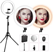 VicTsing LED Ring Light with Color Adjustment Knobs (New Version, No Need to Replace Color Filters), 18'' Dimmable Ring Light w/512pcs LED Chips (50% Brighter) for Selfie, Video Shooting, Potography.