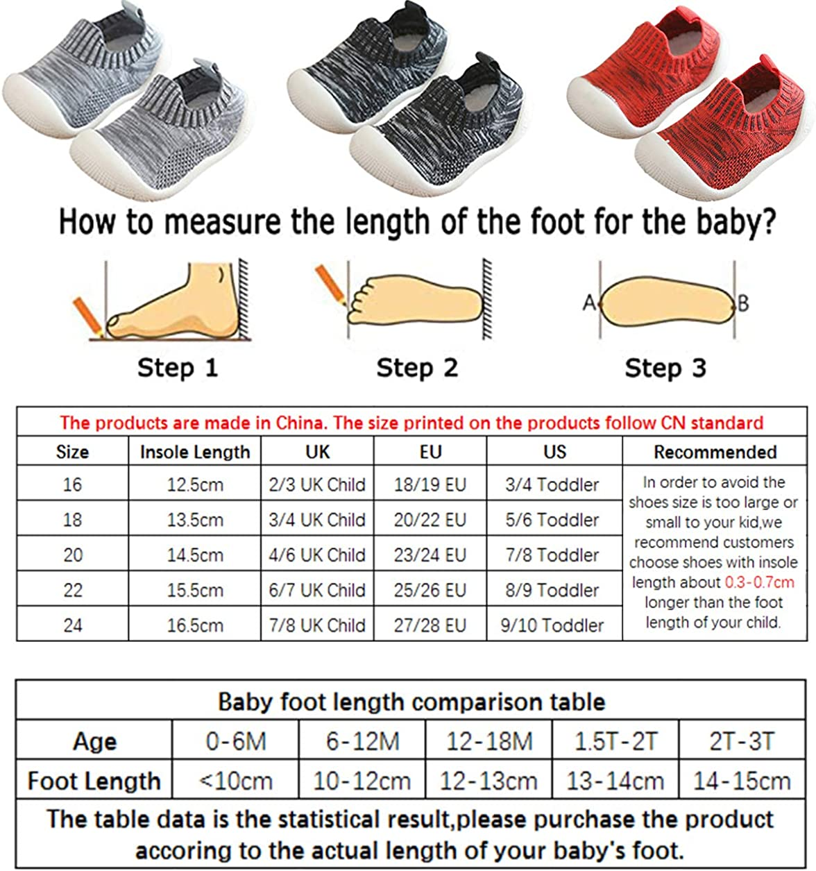 DEBAIJIA Toddler Shoes 1-4T Baby First-Walking Kid Shoes Mesh Breathable Trainers Soft Sole Non Slip Lightweight TPR Material Slip-on Sneaker