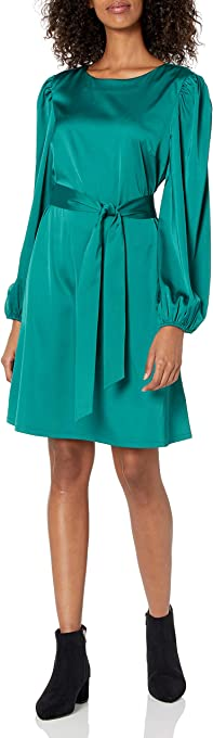 The Drop Women's @shopdandy Belted Silky Stretch Dress
