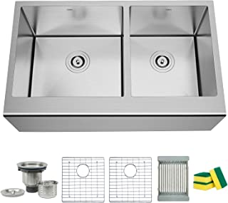 TORVA 33 Inch Farmhouse Kitchen Sink Apron Front 60/40 Double Bowl Flat Front 16 Gauge Stainless Steel