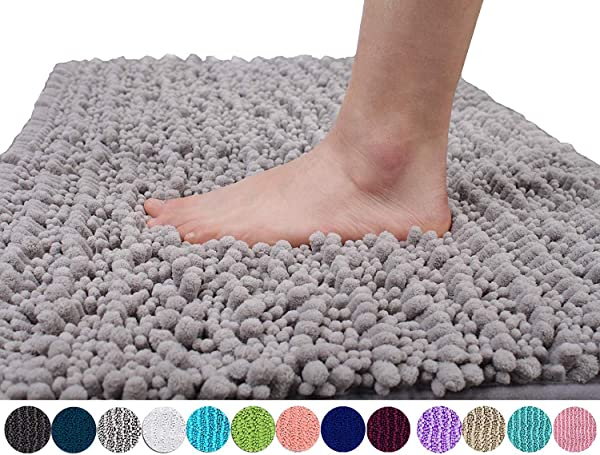 Yimobra Original Luxury Chenille Bath Mat Soft Shaggy And Comfortable Large Size Super Absorbent And Thick Non Slip Machine Washable Perfect For Bathroom 31 5 X 19 8 Inches Gray