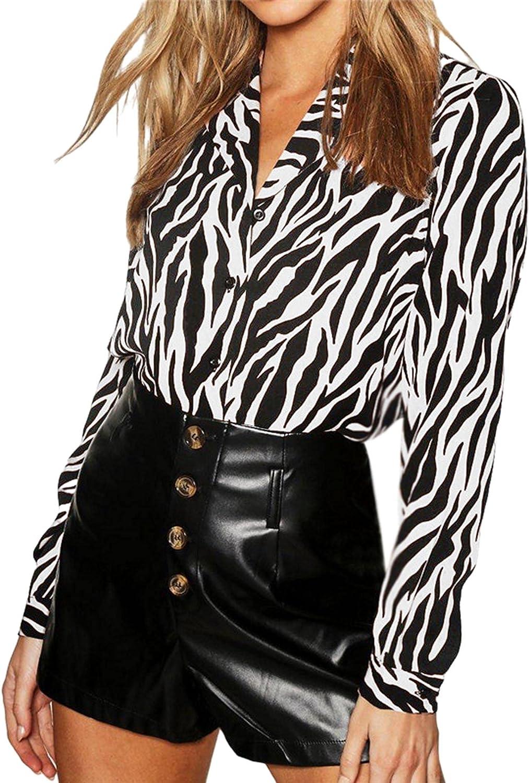 SEMATOMALA Women's Elegant Animal Printed V Neck Blouse Zebra Button Down Long Sleeve Casual Workwear Office Top Shirts