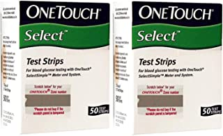 OneTouch Select 100 Test Strips Box (2 Pack of 50 Each) - Diabetes Test Strips - 100 Count - Test Strips for Diabetes one Touch