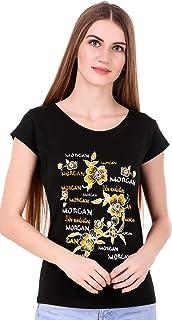MODISH Women's Cotton Casual/Formal, Printed T-Shirt (Black, Medium)