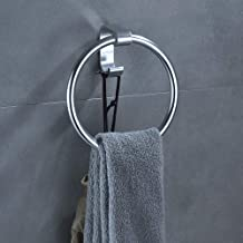 Bath Towel Ring Holder Rustproof Self Adhesive Wall Mount Bathroom Hand Towel Rack Round Ring No Drilling Towel Hanger