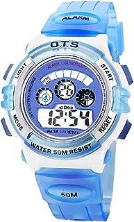 Infantil Niños Niñas Reloj Deportivo Digital Resistente al Agua Multifunción Led Al Aire Libre De Pulsera - Cielo Azul