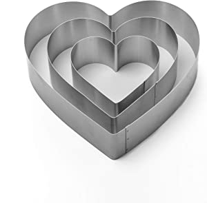 Heart Cake Mold Ring Set-4/6/8 Inch Stainless Steel Big Heart Cutter Pancake Mold