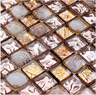 ZHANWEI 3D Wall Panels Wallpaper Crystal Glass Plating Brown Gold Foil Shell Mosaic Bar Counter Storefront Decoration (Color : 1 PC, Size : 300x300mm)