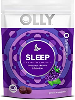 OLLY Sleep Melatonin Gummy, All Natural Flavor and Colors with L Theanine, Chamomile, and Lemon Balm, 3 mg per serving, 30...