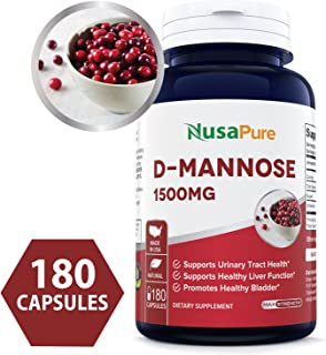 D-Mannose 1500mg 180 Capsules (Non-GMO & Gluten Free) Supports Urinary Tract Health, Promotes The Body's Natural Cleansing Process