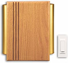 Heath Zenith SL-7882-02 Traditional Décor Wireless Door Chime, Oak and Satin-Finish Brass