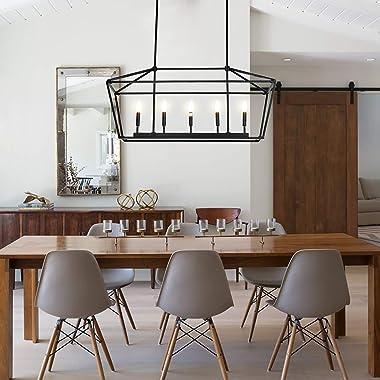 Untrammelife 5-Light Linear Pendant Light Fixture, Kitchen Island Lantern Pendant Lighting, Linear Chandelier with Adjustable