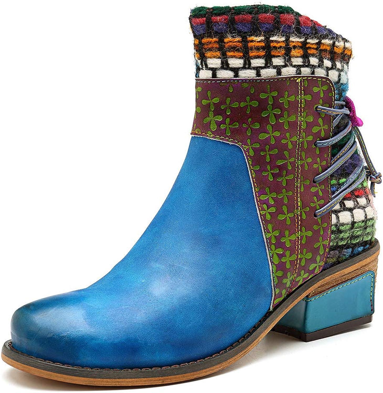 LEFT&RIGHT damen es Blau Ankle Stiefel, Leder Stiefel Dual Zip Fastening Casual schuhe Fashion Handmade Denim Comfort damen ' s Stiefel