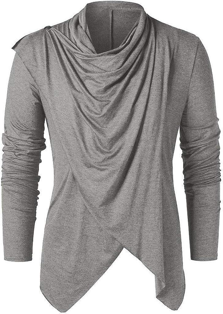 XXBR Tops for Mens, Men's Knight Punk Vintage Style Long Sleeve Asymmetric Hem Cowl Neck Teen Boys Gothic Pullover