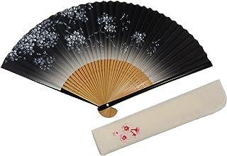 [ハセガワ] 京扇子「桜柄」両面柄 京都職人 手作り 扇子 刺繍入り 扇子袋付き 紙箱入り