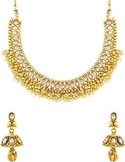 Voylla Golden Reprise Pearl Bunch Necklace Set Jewellery for Women