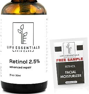 Life Essentials Retinol Serum 2.5% for Wrinkles, Fine Lines, Acne Scars, Skin Blemishes- Vitamin A + Hyaluronic Acid, Vita...