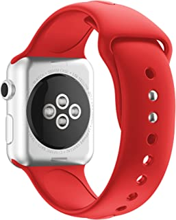 HUANLONG Watch Band 38mm 40mm 42mm 44mm, Soft Silicone Sport Style Iwatch Wristband Compatible for iWatch Strap Series 1/2/3/4(Red 38mm S/M)